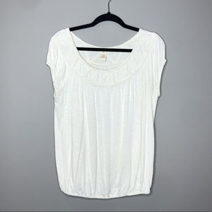 Sundance Slouchy off white top with elastic hem M